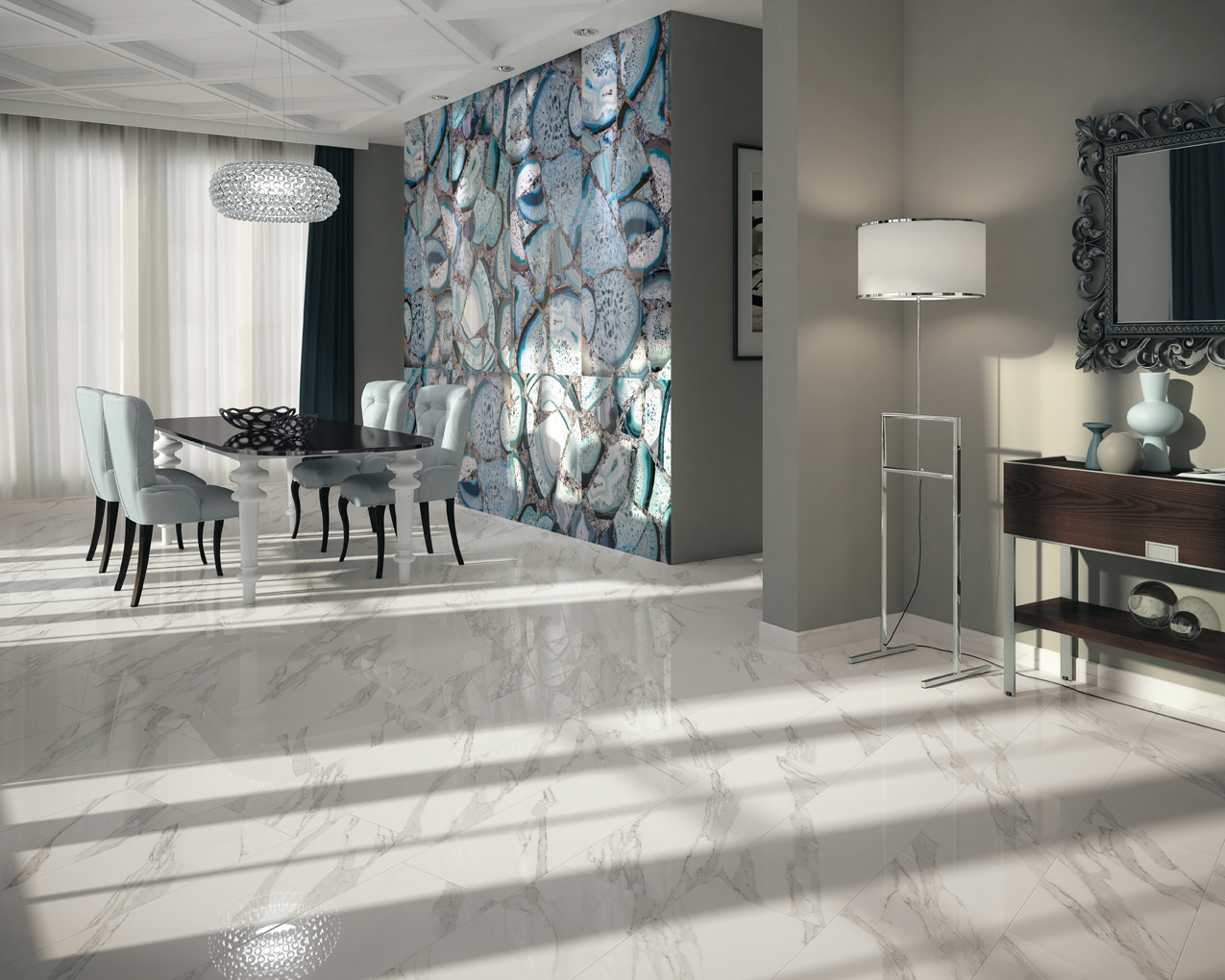 Màu sắc trang nhã từ từ vân đá tự nhiên trong bộ sưu tập Jewel mang lại vẻ đẹp sang trọng cho phòng khách