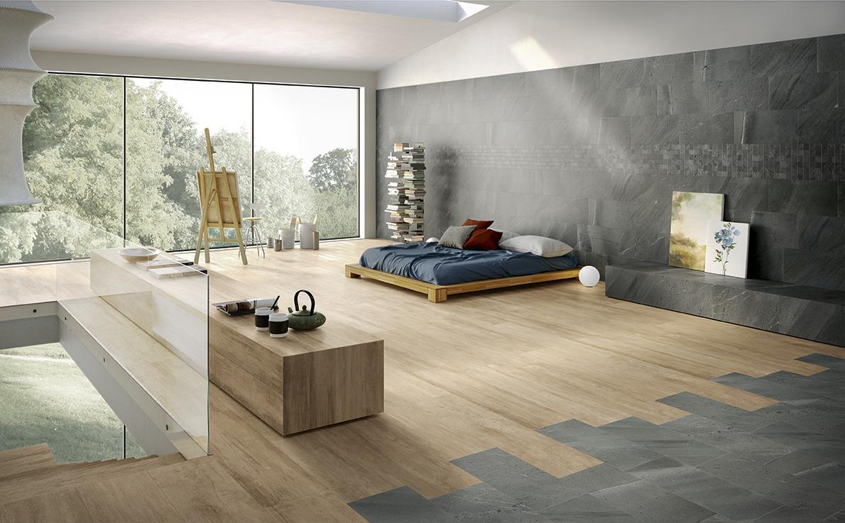 Đối với những phòng ngủ lớn cho gia đình, chất liệu gỗ, gạch men kích thước lớn hoặc kết hợp cả hai có thể là lựa chọn phù hợp