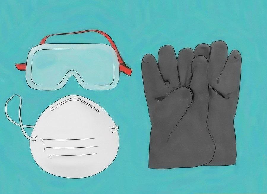 Găng tay, kính bảo hộ, khẩu trang