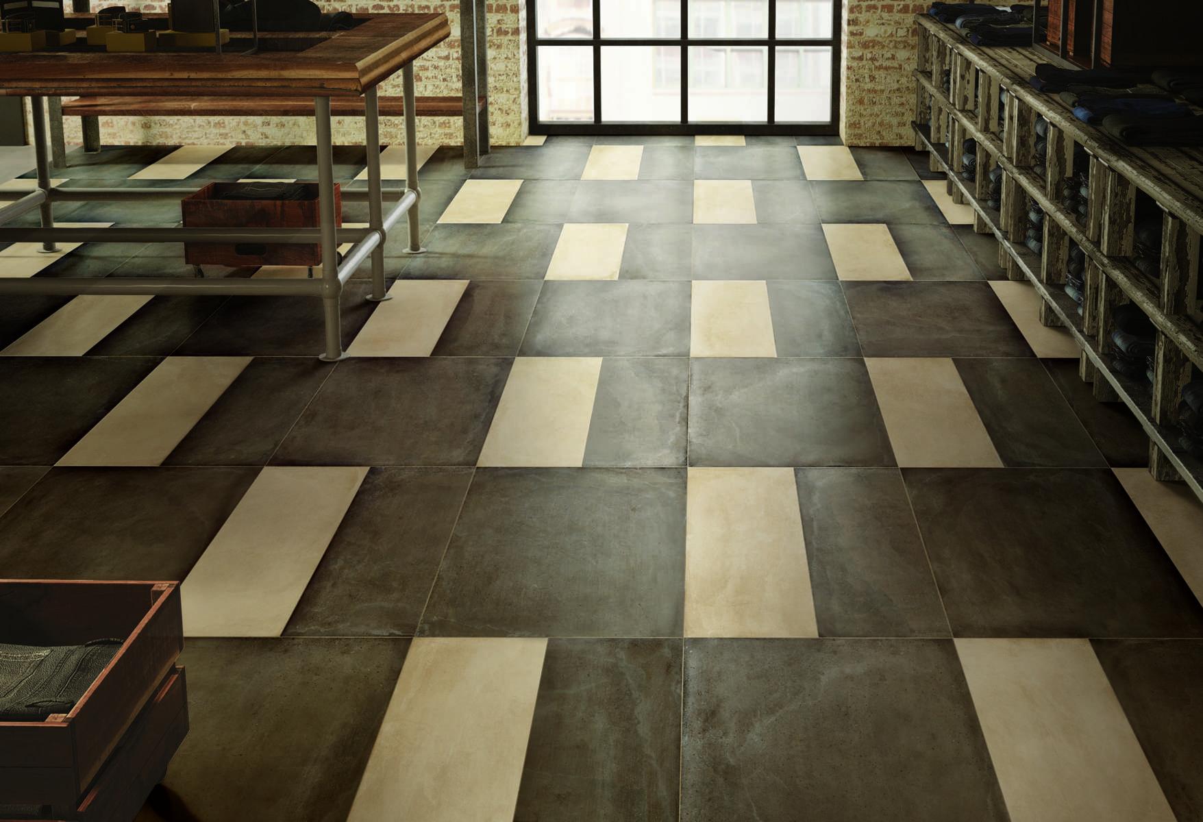 Lát gạch song song cho sàn nhà đẹp (mẫu gạch One Mud và Rope từ Ceramiche Caesar)