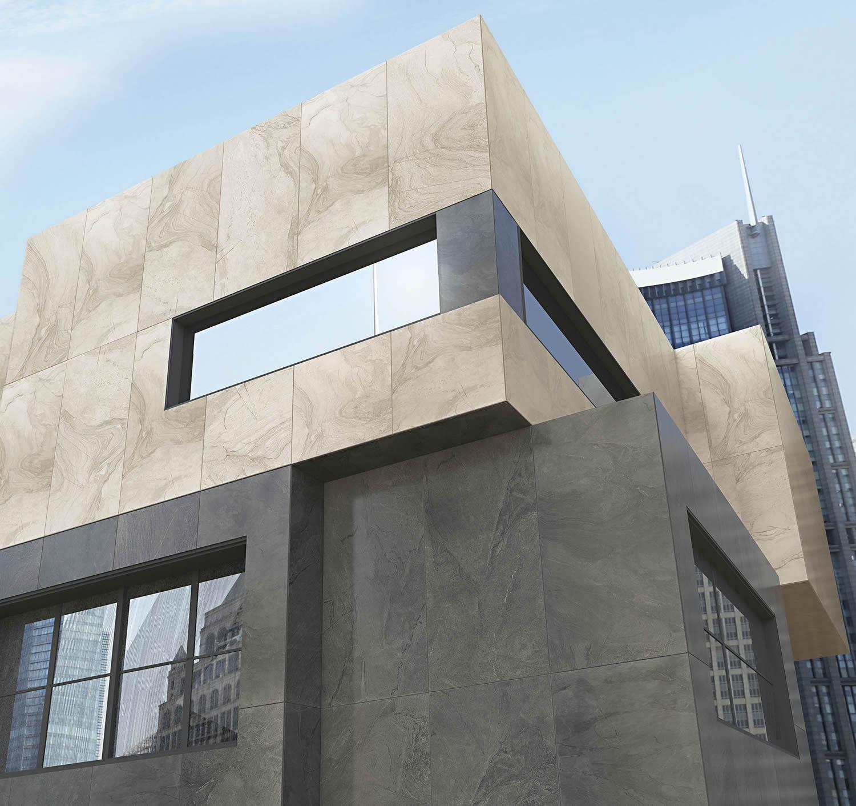 không gian ngoại thất có nhiều ánh sáng thì có thể chọn các mẫu gạch ốp mặt tiền tối màu, trung tính