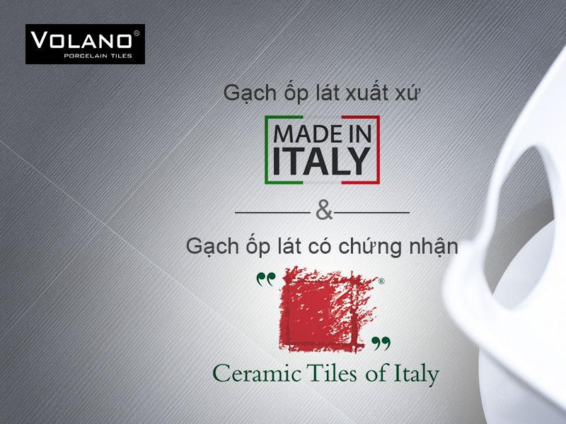 """Gạch ốp lát Porcelain chứng nhận """"ceramic tiles of Italy"""" khác biệt"""